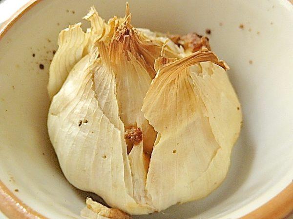 Knoblauchknolle nach 35 Minuten im Ofen