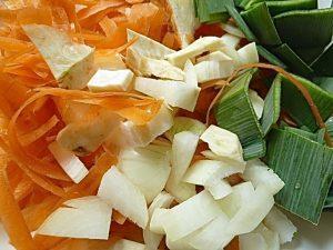 Gemüse Schalen, Abschnitte und Zwiebel